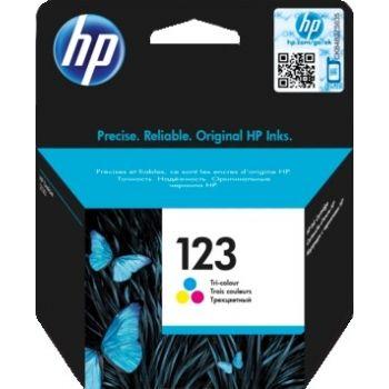 Genuine HP 123 Tri-color Original Ink Cartridge (100 Pages) For HP DeskJet 2130, 2630, 3639