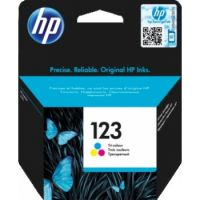 Genuine HP 123 Tri-color Original Ink Cartridge (100 Pages) For HP DeskJet 2130, 2630, 3639
