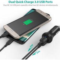 RAVPower QC3.0 36W Dual Port USB Car Charger, Black