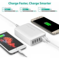 RAVPower 60W 6-Port Charging Station with Quick Charge 3.0  / White