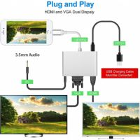Lighting to HDMI/VGA/Audio Adapter 3 in 1 Converter iPhone/ Ipad