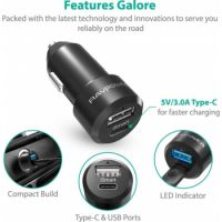 RAVPower Dual Ports Type-C Car Charger 36W, Black