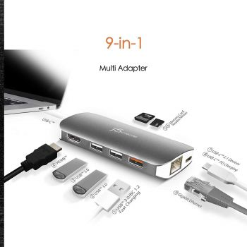 j5create USB-C 9-in-1 Multi Adapter Multi Adapter HDMI/Ethernet/USB 3.1, SD and MicroSD/PD 3.0 | 4K HDMI for USB-C Devices