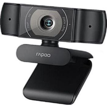 Rapoo C200 720p HD USB Black, 360° Horizontal, 100° Super Wide-Angle Webcam with Microphone for Live Broadcast Video Calling Conference