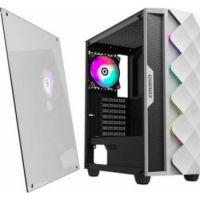 GameMax White Diamond ARGB Mid-Tower PC Gaming Case, ATX, 3 Pin Aura Male & Female Connectors, Built in ARGB LED Strip, 1 x 120mm ARGB Fan Included, Water-Cooling Ready White